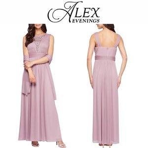 *NWT Beautiful Purple Jewel Alex Evenings Gown*